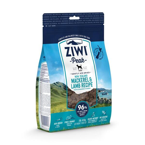 ZiwiPeak Air Dried Dog Food Mackerel & Lamb - 454g